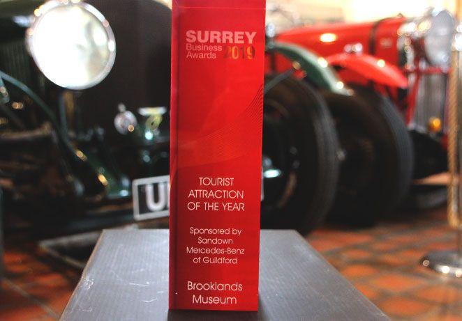 Surrey Business Award 2019 Tourist Attraction of the year trophy