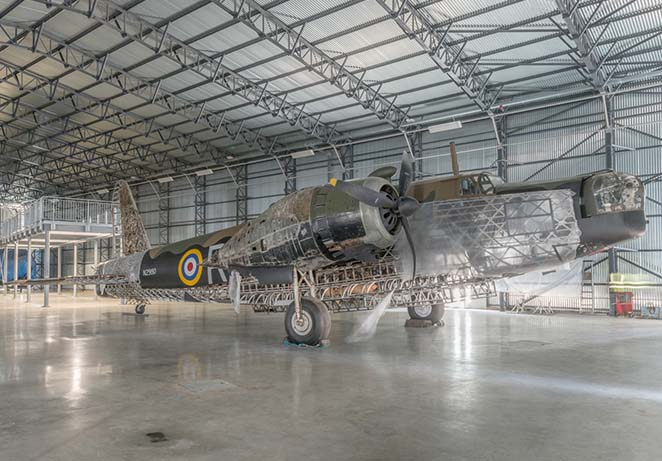 Re-Engineering Brooklands Latest News - Wellington Bomber & Hawker P.1127 moved into Bellman Hangar