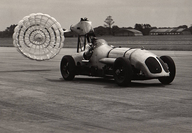 Napier-Railton used for parachute testing. Driver Sir Ramond Quilter. May 1954 archive.jpg